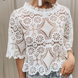 Lace Hallowed Out Short Sleeve Top